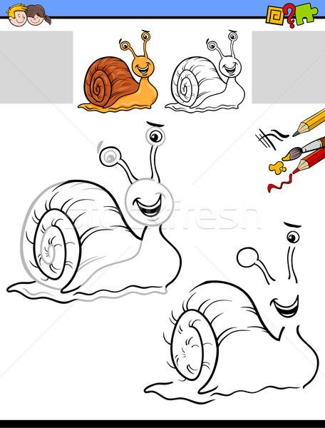 Dibujo actividad caracol Cartoon ilustración educativo Foto stock © izakowski