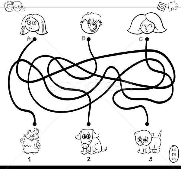 paths maze with kids and pets coloring page Stock photo © izakowski