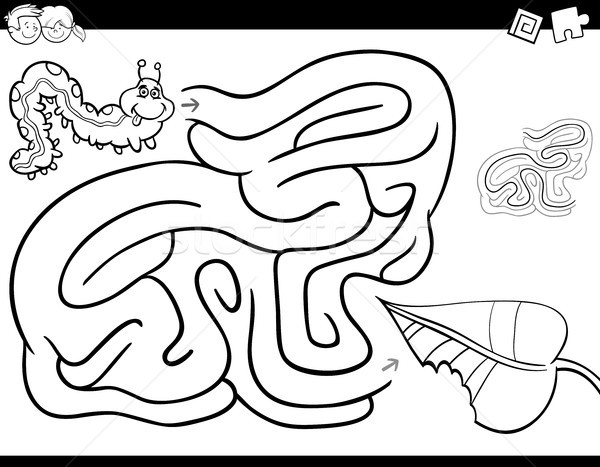 maze game coloring book with caterpillar and leaf Stock photo © izakowski