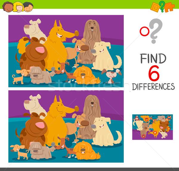 Encontrar diferenças desenho animado jogo cães ilustração Foto stock © izakowski
