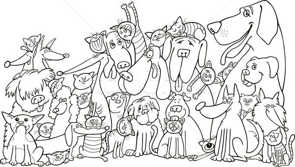 Grup Kediler Kopekler Ornek Boyama Kitabi Mutlu