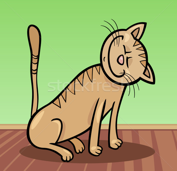 happy cat cartoon illustration Stock photo © izakowski