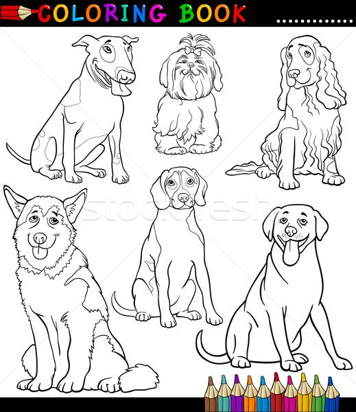 Karikatür Köpekler Yavru Sayfa Boyama Kitabı Siyah