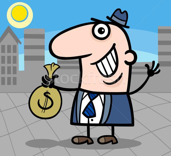 happy businessman cartoon illustration Stock photo © izakowski