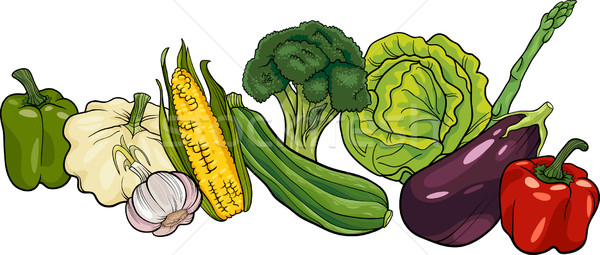 vegetables big group cartoon illustration Stock photo © izakowski