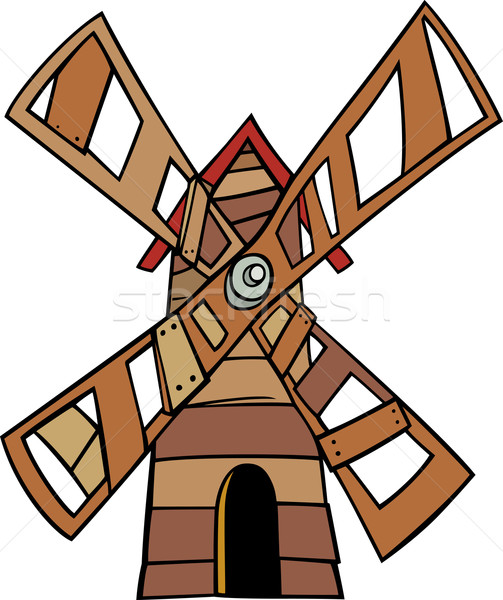windmill clip art cartoon illustration Stock photo © izakowski