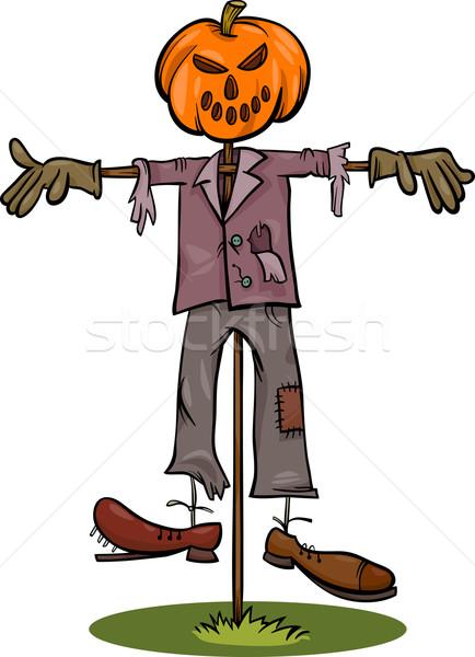 halloween scarecrow cartoon illustration Stock photo © izakowski