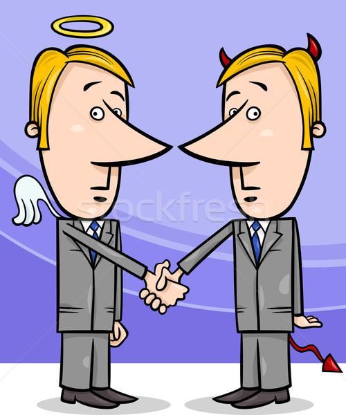 angel and devil businessmen cartoon Stock photo © izakowski
