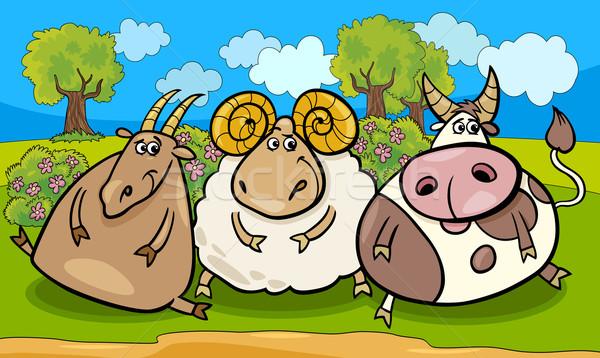 Boerderijdieren groep cartoon illustratie land landelijke scène Stockfoto © izakowski