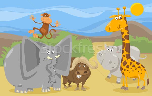 サファリ動物 グループ 漫画 実例 シーン ストックフォト © izakowski