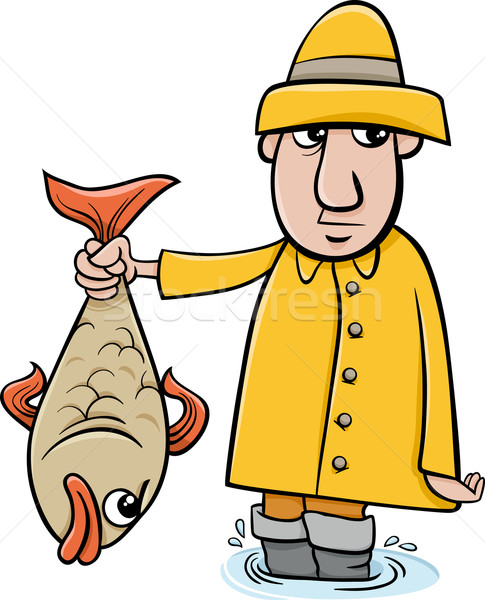 angler with fish cartoon Stock photo © izakowski