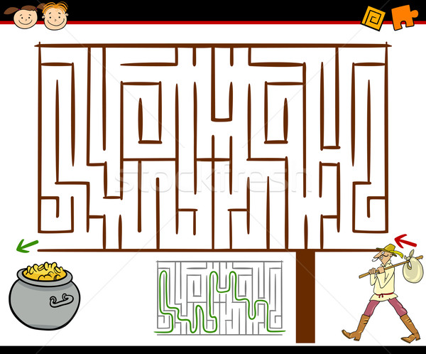cartoon maze or labyrinth game Stock photo © izakowski