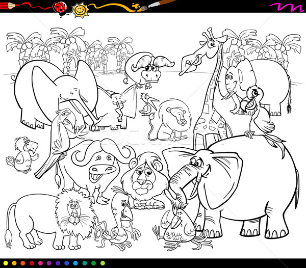 Safari dieren kleurboek zwart wit cartoon illustratie scène Stockfoto © izakowski
