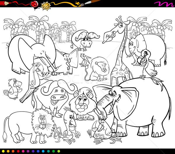 Safari Hayvanlar Boyama Kitabi Siyah Beyaz Karikatur