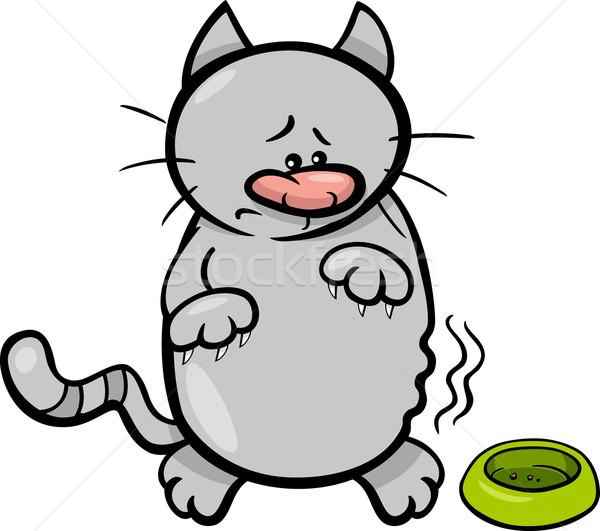 Głodny kot cartoon ilustracja pusty puchar Zdjęcia stock © izakowski