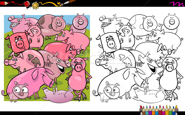 Domuz boyama kitabı karikatür örnek Stok fotoğraf © izakowski
