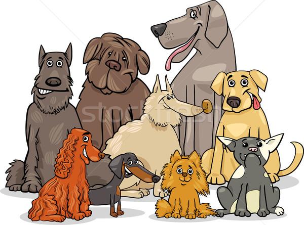 чистокровных собак группа Cartoon иллюстрация Сток-фото © izakowski
