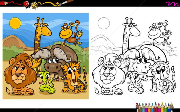 animal characters coloring page Stock photo © izakowski