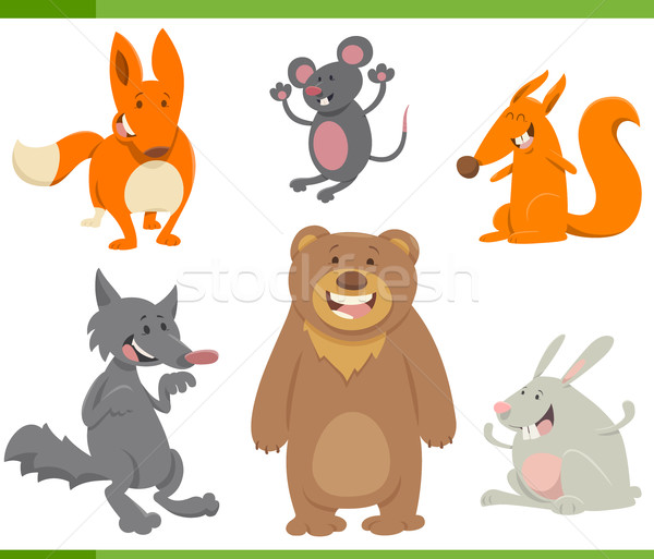 Сток-фото: милые · животные · Cartoon · набор · иллюстрация · смешные · животного