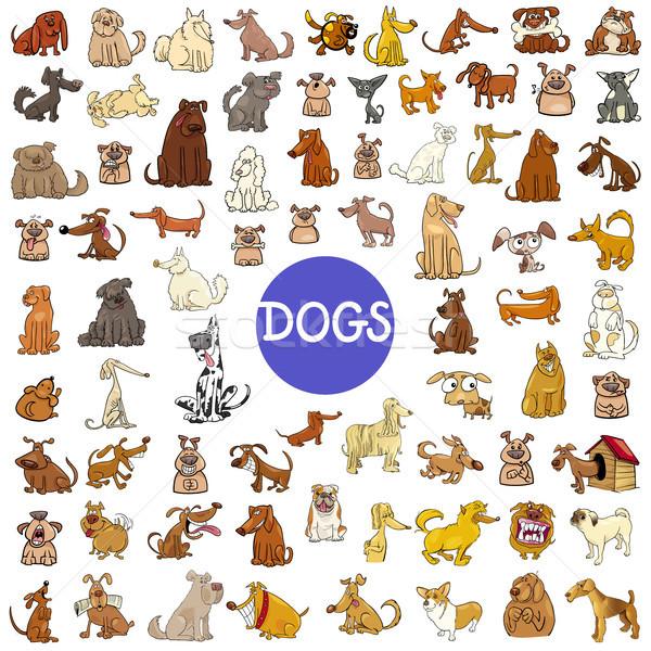Cartoon hond reusachtig ingesteld illustratie Stockfoto © izakowski