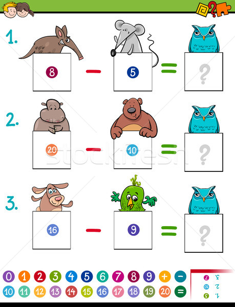 maths addition educational game with animals Stock photo © izakowski