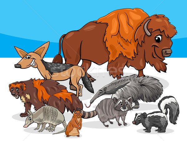 American animals group cartoon illustration Stock photo © izakowski
