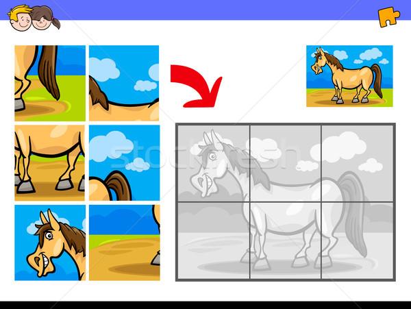 jigsaw puzzles with pony farm animal character Stock photo © izakowski