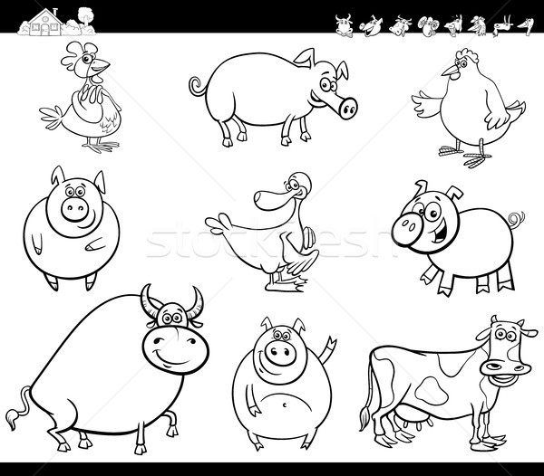 cartoon farm animals collection color book Stock photo © izakowski