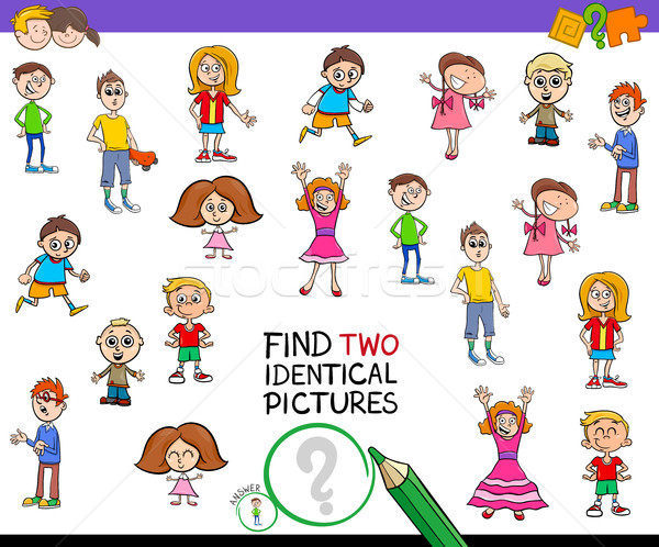 find two identical pictures game for kids Stock photo © izakowski