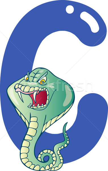 Cobra desenho animado ilustração carta livro feliz Foto stock © izakowski
