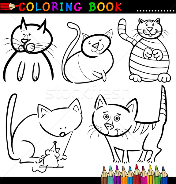 Stock Photo Vector Illustration Coloring Book Or Page Cartoon Of Funny Cats For Children
