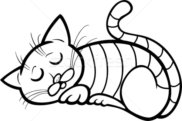 sleeping cat cartoon for coloring Stock photo © izakowski