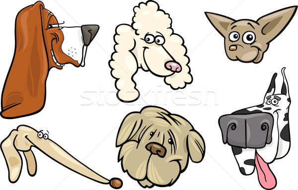 Stock photo: Cartoon dogs heads set