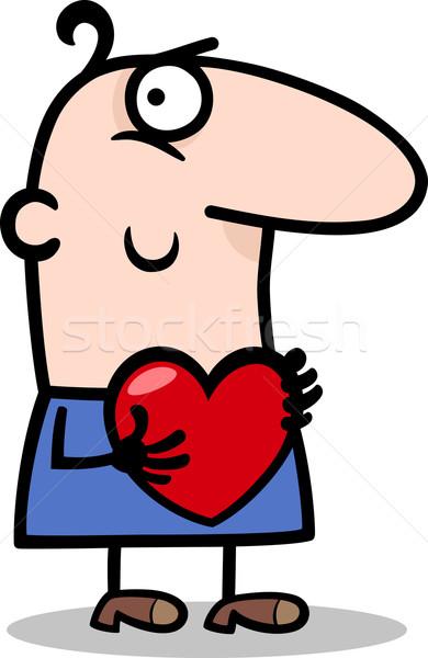man with heart cartoon illustration Stock photo © izakowski
