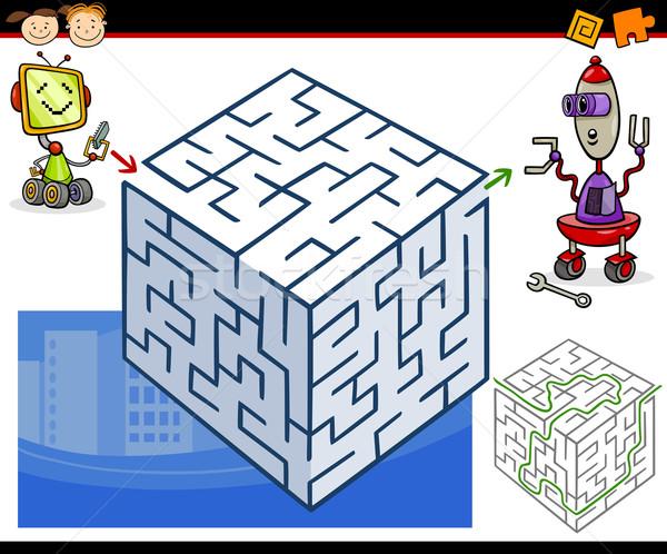 Cartoon doolhof labyrint spel illustratie onderwijs Stockfoto © izakowski