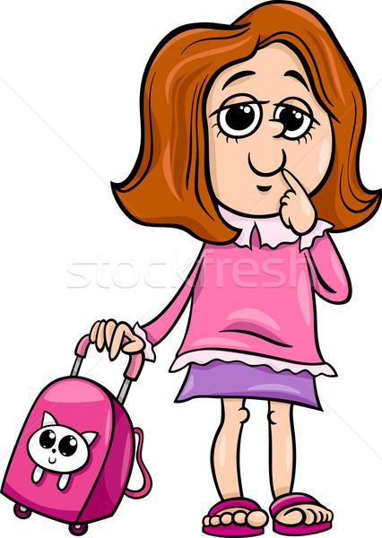 Escuela primaria nina Cartoon ilustración escuela primaria estudiante Foto stock © izakowski