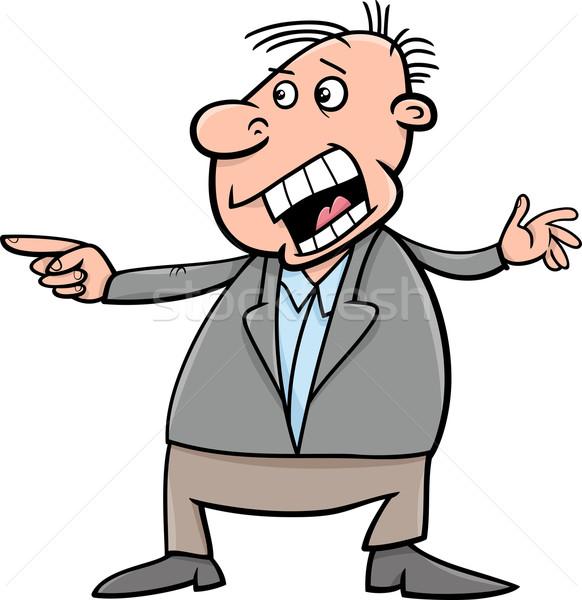 shouting man cartoon illustration Stock photo © izakowski
