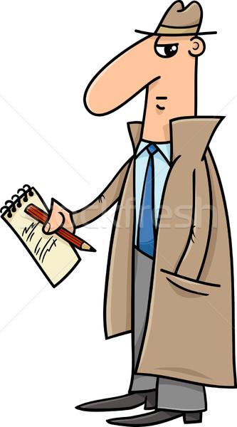 детектив журналист Cartoon иллюстрация блокнот карандашом Сток-фото © izakowski