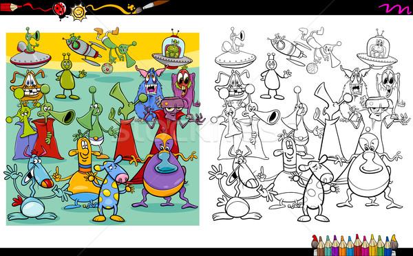 Yabancı sayfa karikatür örnek boyama kitabı Stok fotoğraf © izakowski