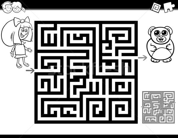 Labirintus labirintus oldal feketefehér rajz illusztráció Stock fotó © izakowski