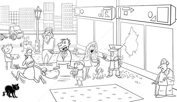 Situatie straat pagina zwart wit cartoon illustratie Stockfoto © izakowski