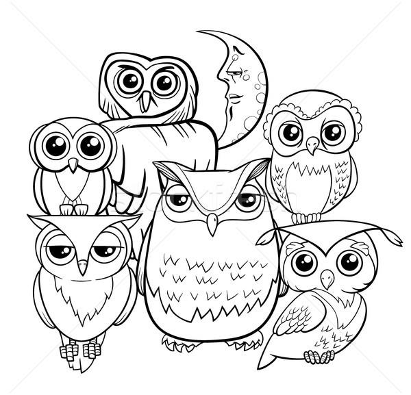 Baykuslar Grup Karikatur Boyama Kitabi Siyah Beyaz
