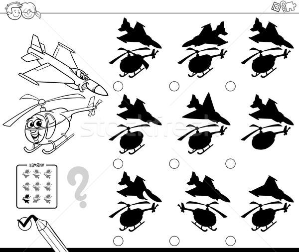 Gölgeler Uçak Boyama Kitabı Siyah Beyaz Karikatür