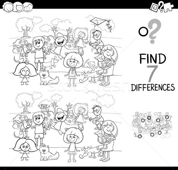 differences game with kids and pets for coloring Stock photo © izakowski