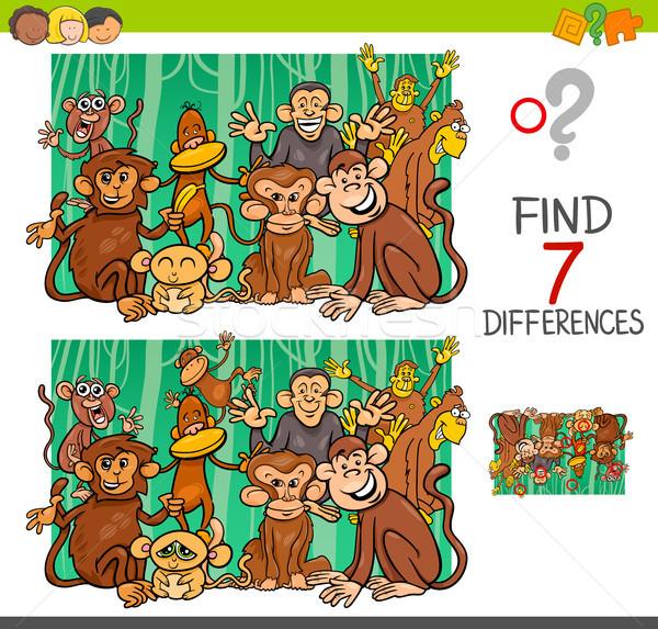 find differences with monkeys animal characters Stock photo © izakowski