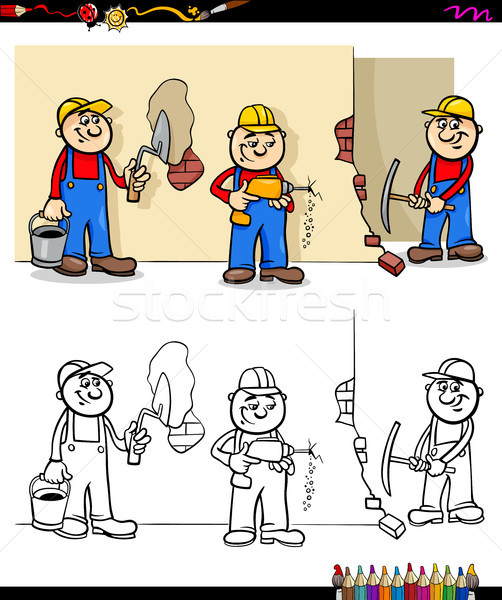 workers and builders characters group color book Stock photo © izakowski