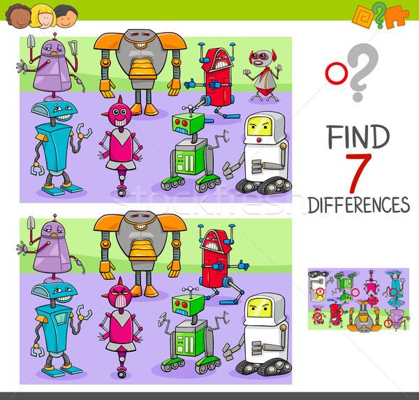 find differences game with robots fantasy characters Stock photo © izakowski