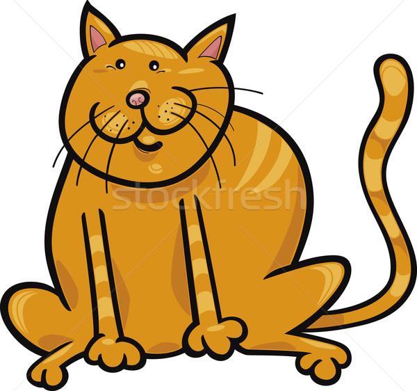 желтый кошки Cartoon иллюстрация смешные сидят Сток-фото © izakowski