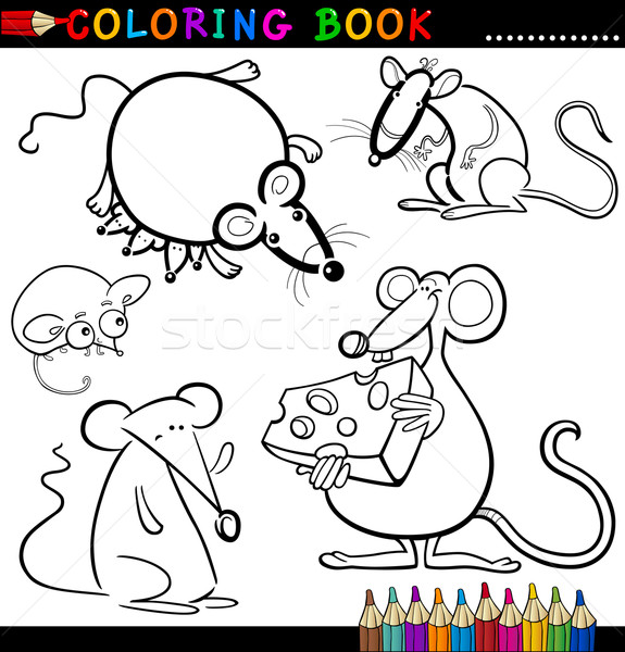 Hayvanlar boyama kitabı sayfa karikatür örnek komik Stok fotoğraf © izakowski