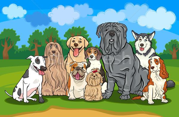 Psów grupy cartoon ilustracja funny Zdjęcia stock © izakowski